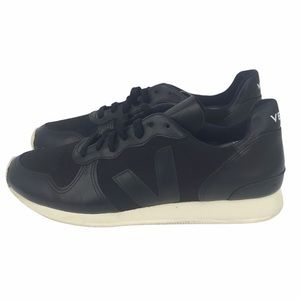 VEJA VEGAN LEATHER BLACK PIERRE HOLIDAY LOW-TOP MESH SNEAKERS WOMENS SIZE 10